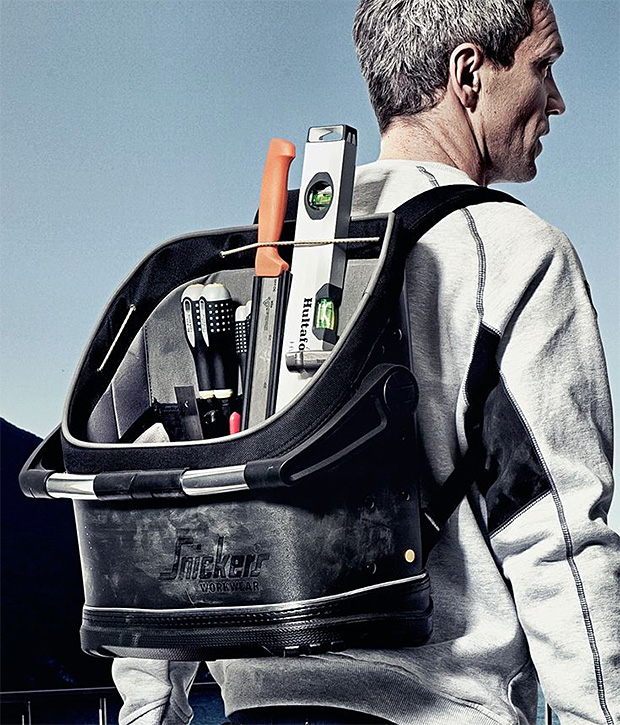 man with a tool backpack