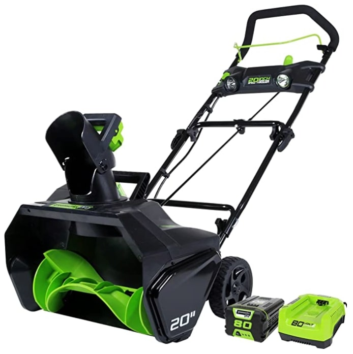 Best Electric Snow Blower For Heavy Snow 6) Greenworks 2600402 Pro 80V 20-Inch Electric Snow Blower for Heavy Snow