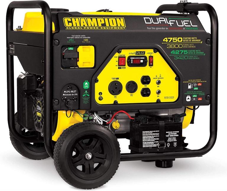 Best Generator For Home Backup 9. Champion Power Equipment 76533 4750/3800-Watt Dual Fuel RV Ready Portable Generator for Home Backup